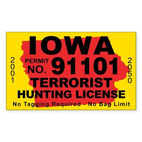 Iowa terrorist hunting license decal by cafestickers for Iowa fishing license