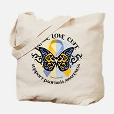 Psoriasis Peace Love Cure Tote Bag