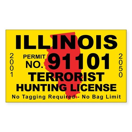 Illinois terrorist hunting license decal by cafestickers for Fishing license illinois