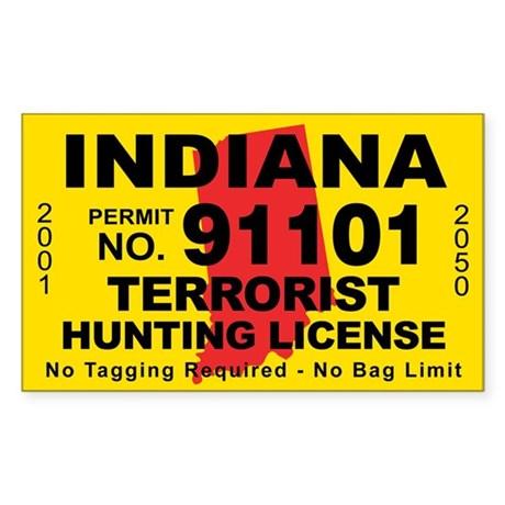 Indiana terrorist hunting license decal by cafestickers for Fishing license indiana