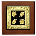 Framed Tile - Gold Leaves on Black