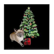 Cat Frosty Xmas Tree Tile Coaster