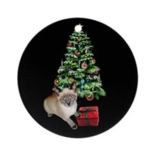 Cat Frosty Xmas Tree Ornament (Round)