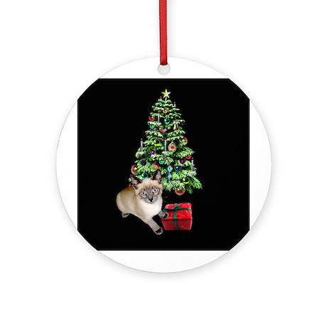 Cat Frosty Xmas Tree Ornament (Round)