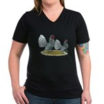 Sebright Silver Bantams Women's V-Neck Dark T-Shir