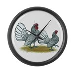 Sebright Silver Bantams Large Wall Clock