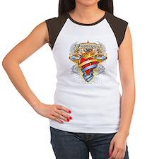 Psoriasis Cross & Heart Women's Cap Sleeve T-Shirt