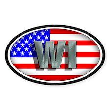 WISCONSIN Oval Bumper Stickers