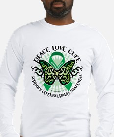 Cerebral Palsy Tribal Butterf Long Sleeve T-Shirt