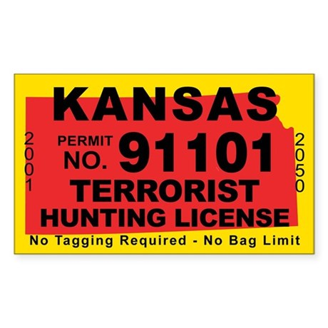 Kansas terrorist hunting license decal by cafestickers for Kansas state fishing license