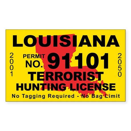 Louisiana terrorist hunting license decal by cafestickers for Fishing license in louisiana