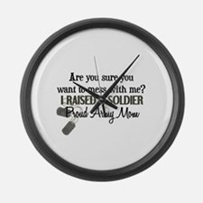 Raised a Soldier - Mom Large Wall Clock