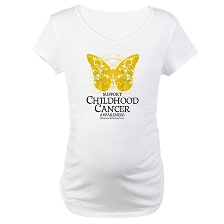 Childhood Cancer Butterfly 2 Maternity T-Shirt
