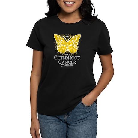 Childhood Cancer Butterfly 2 Women's Dark T-Shirt