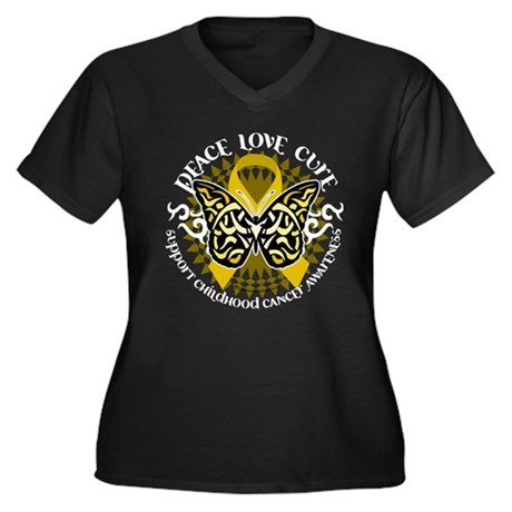 Childhood Cancer Tribal Butte Women's Plus Size V-