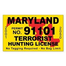 Maryland Terrorist Hunting License Decal