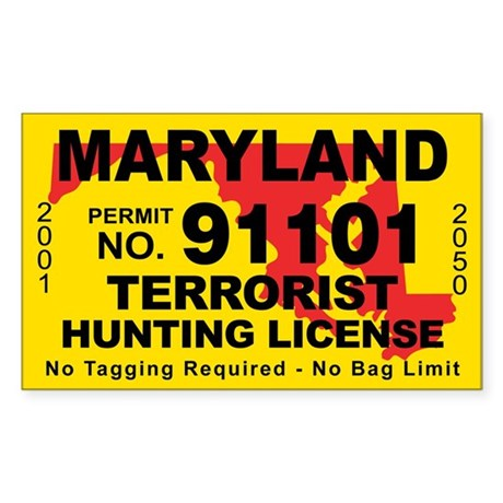 Maryland terrorist hunting license decal by cafestickers for Md fishing license