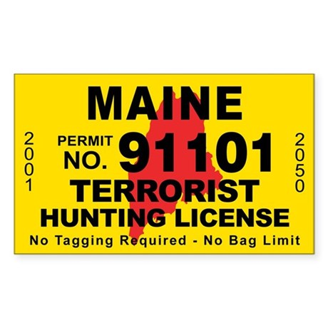 Maine terrorist hunting license decal by cafestickers for Maine fishing license