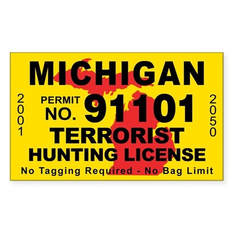 Michigan Terrorist Hunting License Sticker