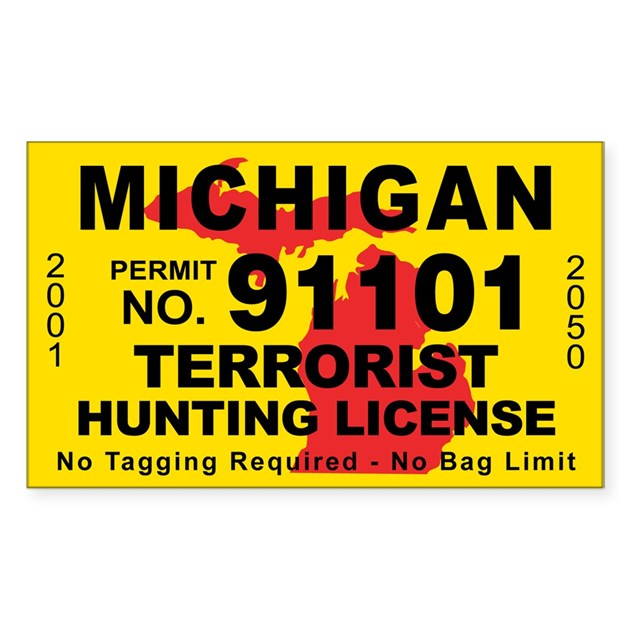 Michigan terrorist hunting license decal by cafestickers for Michigan fishing license online