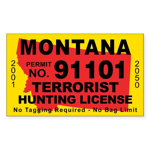 Montana terrorist hunting license decal by cafestickers for Montana out of state fishing license