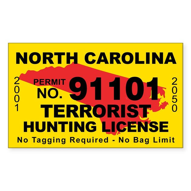 North carolina terrorist hunting license decal by cafestickers for Nc wildlife fishing license