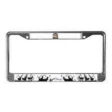 bow hunter, trophy buck License Plate Frame