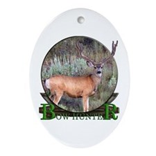 bow hunter, trophy buck Ornament (Oval)