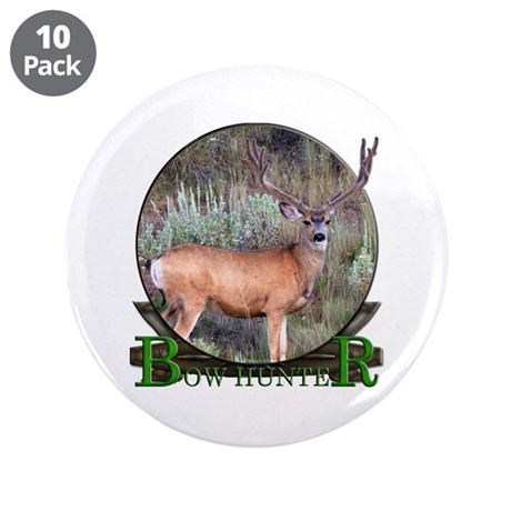 "bow hunter, trophy buck 3.5"" Button (10 pack)"