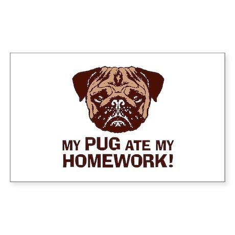 My Pug Ate My Homework Sticker (Rectangle)