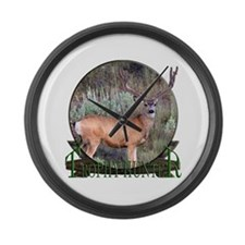 Trophy Hunter, mule deer Large Wall Clock