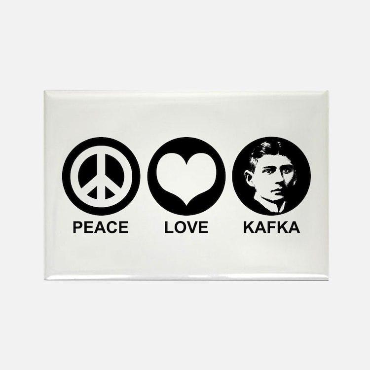 Peace Love Kafka Rectangle Magnet