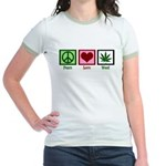 Peace Love Weed Jr. Ringer T-Shirt