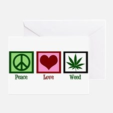 Peace Love Weed Greeting Card