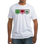 Peace Love Weed Fitted T-Shirt