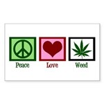 Peace Love Weed Sticker (Rectangle)