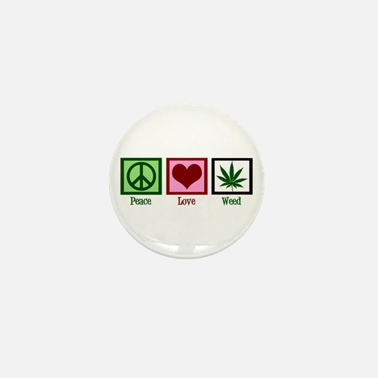 Peace Love Weed Mini Button (10 pack)