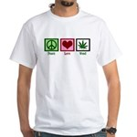 Peace Love Weed White T-Shirt