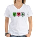 Peace Love Weed Women's V-Neck T-Shirt