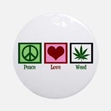 Peace Love Weed Ornament (Round)