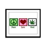 Peace Love Weed Framed Panel Print