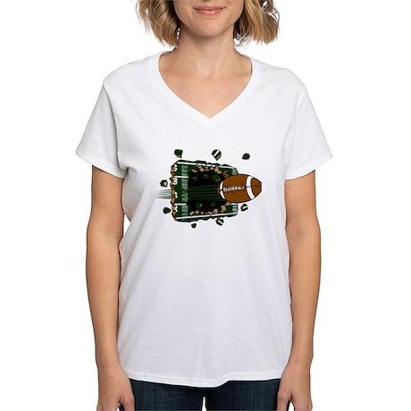 FOOTBALL *24* {green} Women's V-Neck T-Shirt