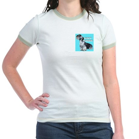 Cesky Terrier portrait Jr. Ringer T-Shirt