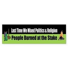Politics and Religion Bumper Car Sticker