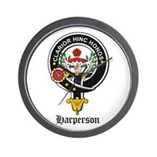 Harperson Clan Crest Badge Wall Clock
