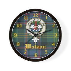 Watson Clan Crest Badge Clock Wall Clock
