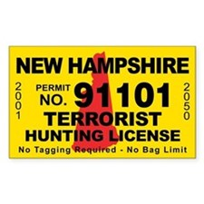 New Hampshire Terrorist Hunting License Decal