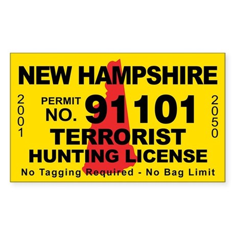 New hampshire terrorist hunting license decal by cafestickers for New hampshire fishing license