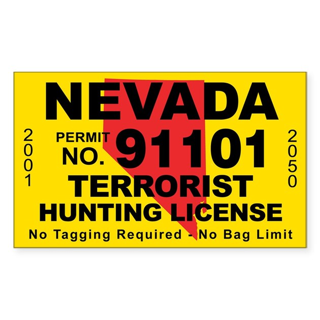 Nevada terrorist hunting license decal by cafestickers for Fishing license nevada