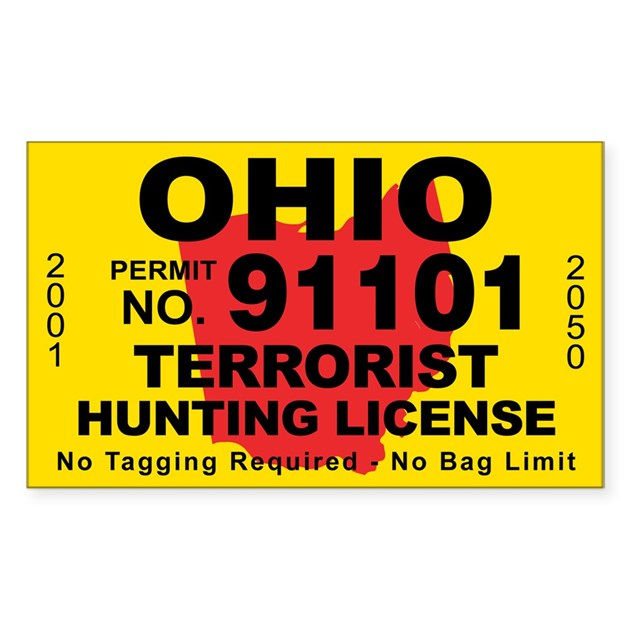 Ohio terrorist hunting license decal by cafestickers for Ohio state fishing license